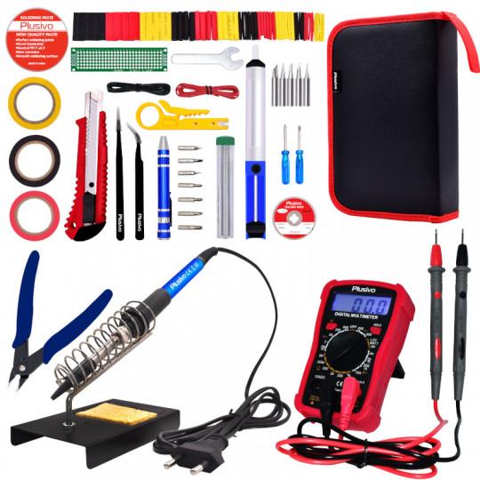 Plusivo Soldering Iron Kit with Digital Multimeter (230 V, Plug Type: EU)