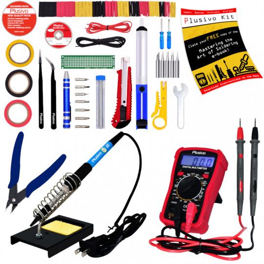 Plusivo Soldering Iron Kit with Digital Multimeter (220-230 V, Plug Type A)