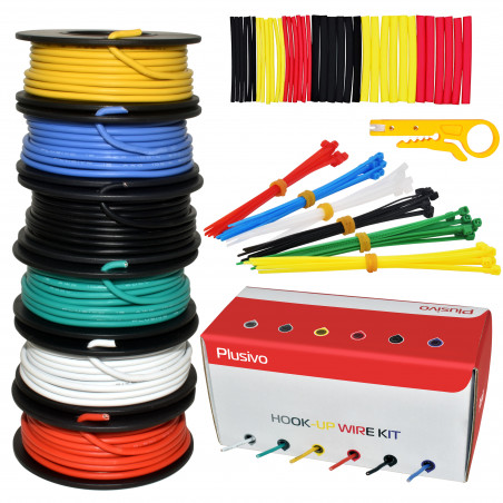 Plusivo Hookup Wire Kit (6 colors, 5 m each, AWG 18, Solid Wire) PVC Jacket
