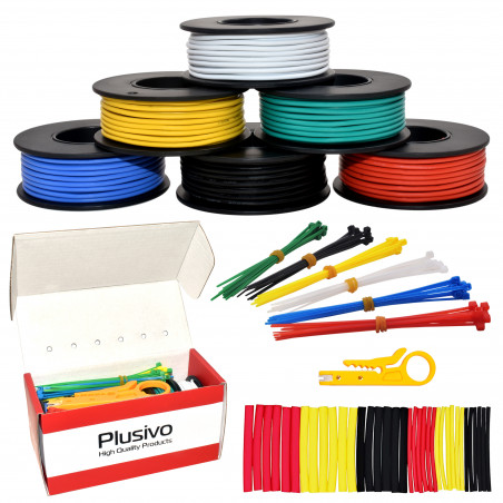 Plusivo Hookup Wire Kit (6 colors, 7 m (23 FT) each, AWG 20, Solid Wire) PVC Jacket