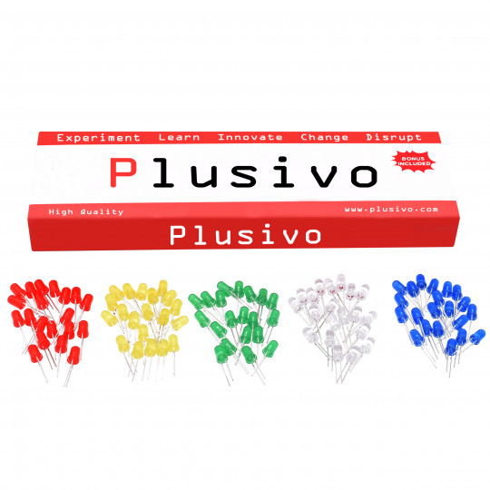 Plusivo 3mm and 5mm Diffused LED Light Emitting Diode Assortment Kit