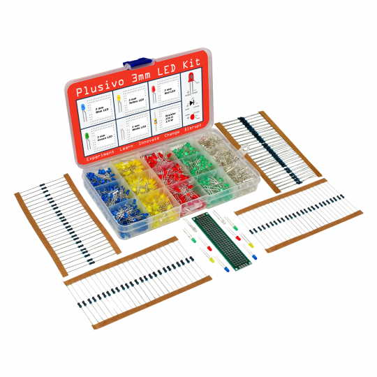 Plusivo 3mm Diffused LED Diode Assortment Kit
