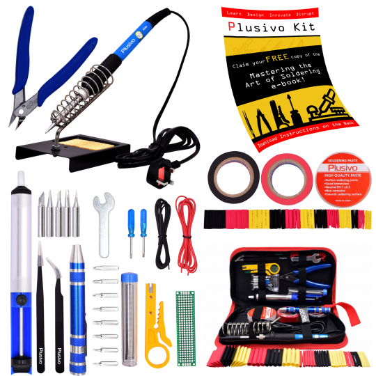 Plusivo Soldering Kit with Diagonal Wire Cutter (230 V, UK Plug)