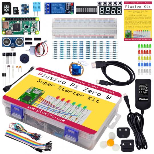Plusivo Pi Zero W Super Starter Kit with Raspberry Pi Zero WH and 32 GB sd card with NOOBs