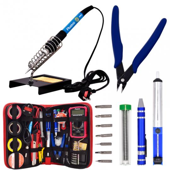 Plusivo Soldering Iron Kit with Digital Multimeter (230 V, Plug Type: UK)