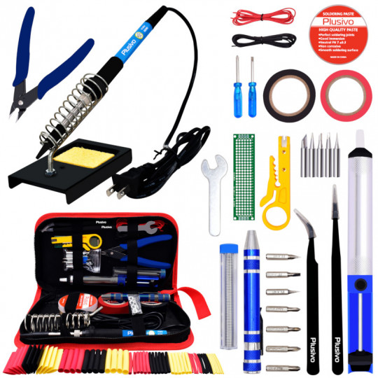 Plusivo Soldering Kit with Diagonal Wire Cutter (110 V, US Plug)