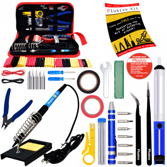 Plusivo Soldering Kit (US Plug) with Diagonal Wire Cutter