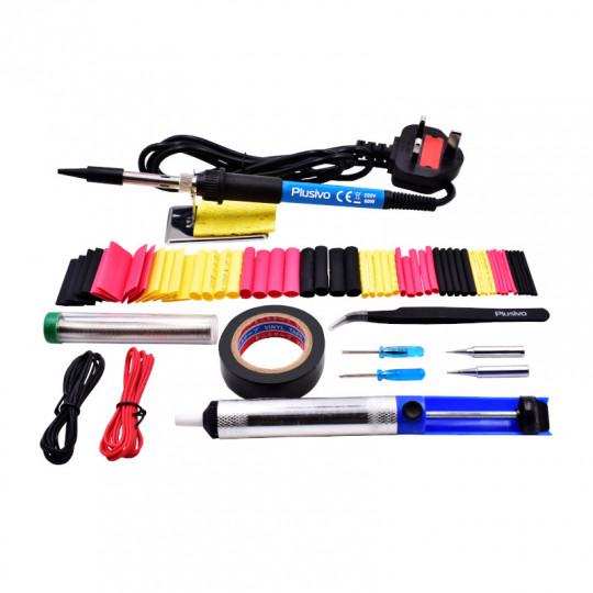 Plusivo Basic Soldering Kit for Electronics (230 V, Plug Type: UK)