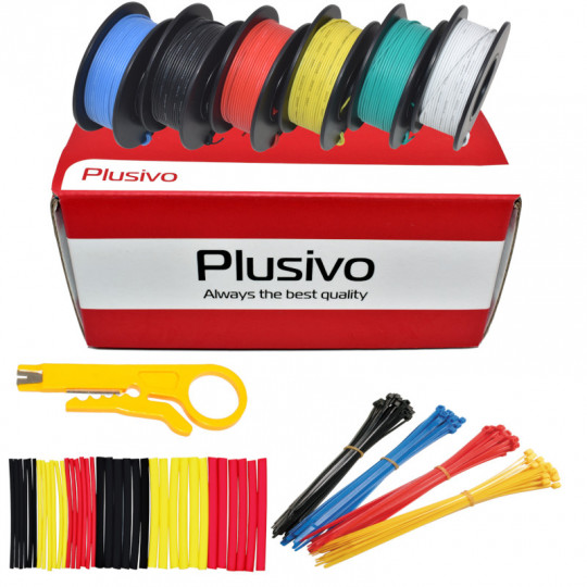 Plusivo 30AWG Hook up Wire Kit - 6 Different Colors x 66 ft each