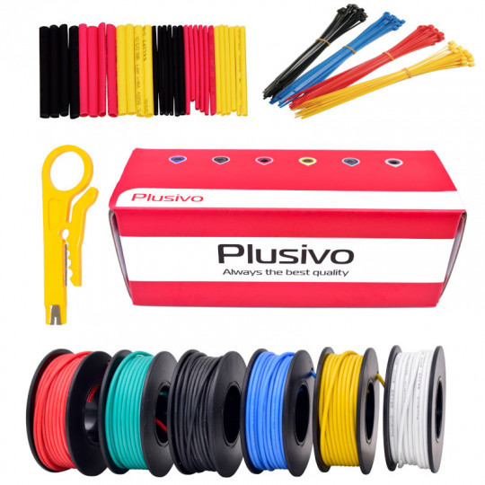 Plusivo 22AWG Hook up Wire Kit -  600V Tinned Stranded Silicone Wire of 6 Different Colors x 22 ft each