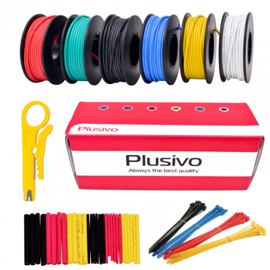 Plusivo 22AWG Hook up Wire Kit -  600V Tinned Stranded Silicone Wire of 6 Different Colors x 23 ft each